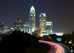 Skyline of Charlotte North Carolina at Night