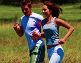 Couple Running Together Before Using a Medical (USP) Lanolin Skin Moisturizing Serum