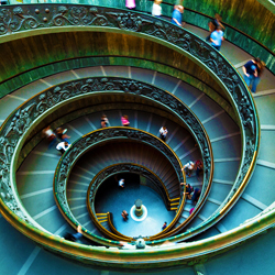 Famous Staircase at the Vatican Museum in Rome (a Masterpiece of Architecture)